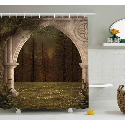 Gothic Retro Arch in Garden Shower Curtain Size: 69 W x 84 L