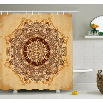 Bellegarde Astrology Aged Shower Curtain Size: 69 W x 84 L
