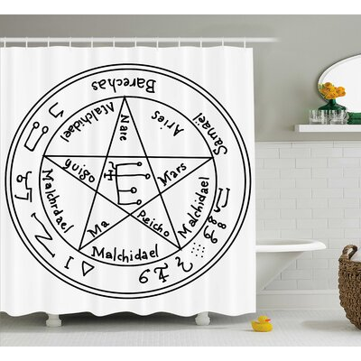 White Occult Ancient Pagan Art Shower Curtain Size: 69 W x 75 L