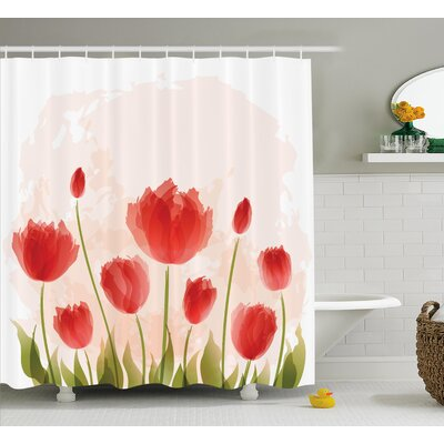 Bazile Romantic Tulip Blossoms Shower Curtain Size: 69 W x 84 L