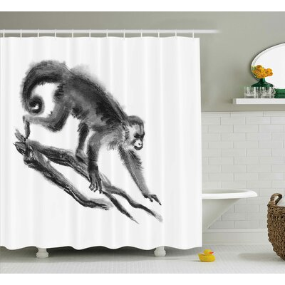 Antione Exotic Jungle Monkey Shower Curtain Size: 69 W x 70 L