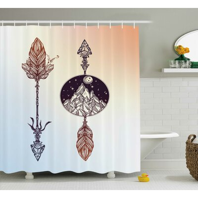 Caress American Boho Feather Shower Curtain Size: 69 W x 84 L