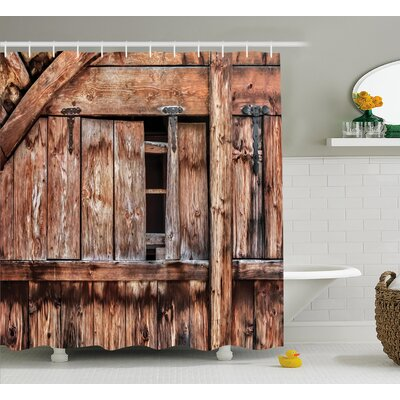 Rustic Oak Abandoned Barn Door Shower Curtain Size: 69 W x 75 L