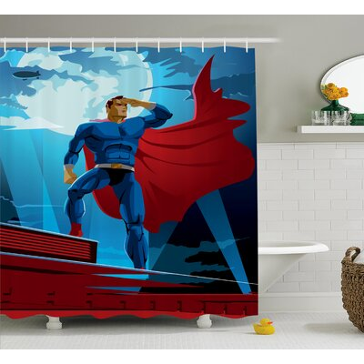 Superhero Retro Cartoon Heros Shower Curtain Size: 69 W x 75 L