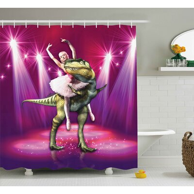 Animal Dancing Ballerina Shower Curtain Size: 69 W x 75 L