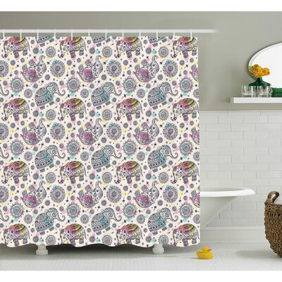 Delmer Oriental Ethnic Design Shower Curtain Size: 69 W x 84 L