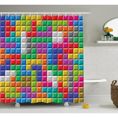 Shannon Games Colorful Blocks Art Shower Curtain Size: 69 W x 84 L