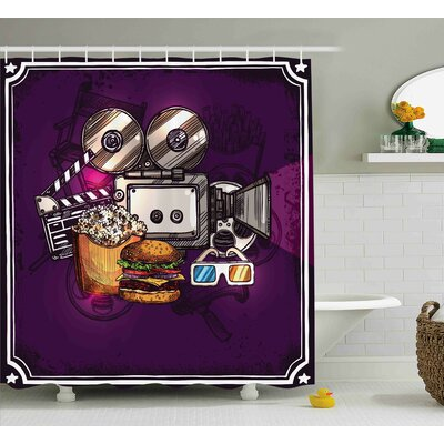 Georgia-May Burgers Popcorns Cinema Shower Curtain Size: 69 W x 70 L