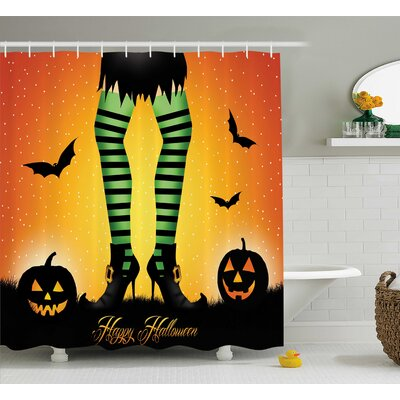 Halloween Decor Cartoon Witch Shower Curtain Size: 69 W x 75 L