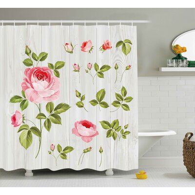 Burmuda Vintage Rose Petals Leaf Shower Curtain Size: 69 W x 75 L