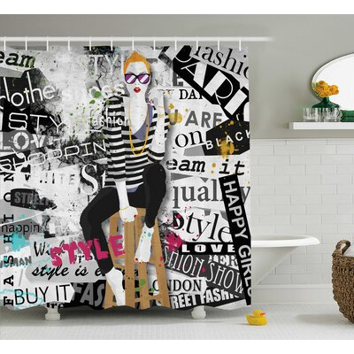 Emerson Fashion Girl Grunge Shower Curtain Size: 69 W x 84 L