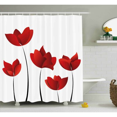 Woodland Vivid Rose Flower Petal Shower Curtain Size: 69 W x 84 L