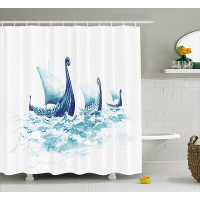 Viking Decor Ship Nordic Sea Shower Curtain Size: 69 W x 70 L