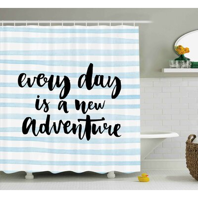 Benninger Adventure Calligraph Text Shower Curtain Size: 69 W x 84 L