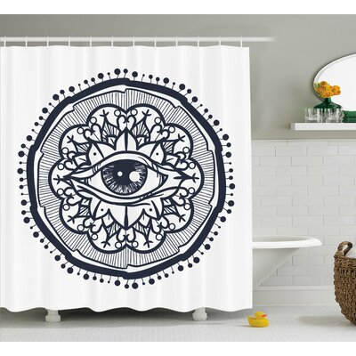 White Retro All Seeing Eye Art Shower Curtain Size: 69 W x 84 L