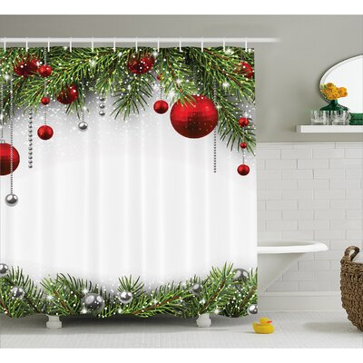 Christmas Bright Baulbes Tree Shower Curtain Size: 69 W x 84 L