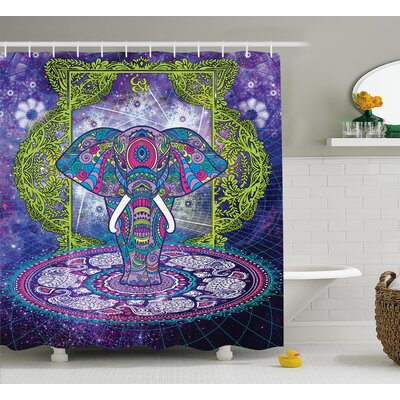 Alep Mandala Out Space Image Shower Curtain Size: 69 W x 75 L