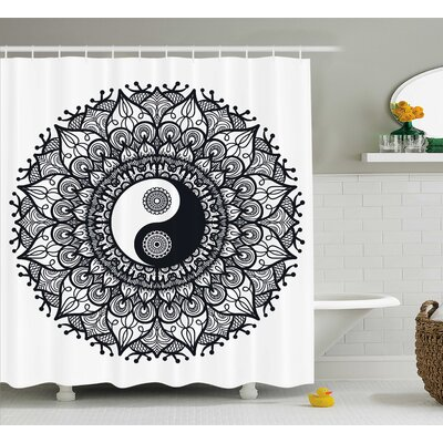 Ying Yang Decor Mandala Yoga Shower Curtain Size: 69 W x 70 L