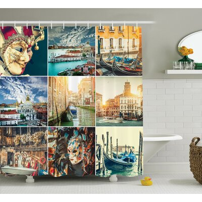Nautical Home Venice Canals Shower Curtain Size: 69 W x 84 L