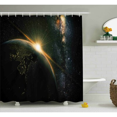 Belz Sun Rising above Earth Shower Curtain Size: 69 W x 70 L