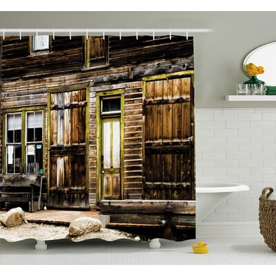 Rustic Wooden Planks and Rocks Shower Curtain Size: 69 W x 75 L