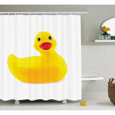 Rubber Duck Cute Yellow Ducky Shower Curtain Size: 69