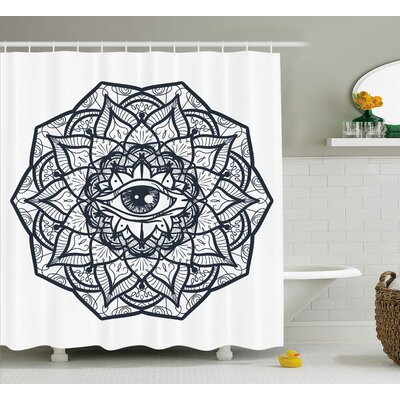 White Ethnic Mandala Tribal Shower Curtain Size: 69 W x 84 L