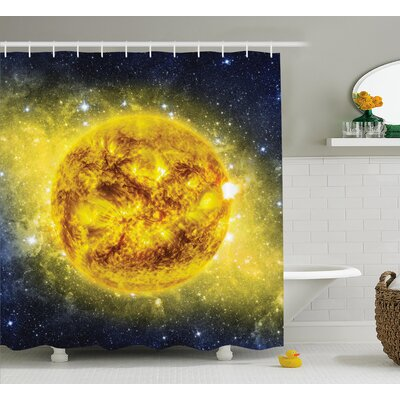 Space Panorama Shower Curtain Size: 69 W x 70 L