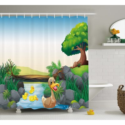 Karen Cartoon Farm Animals Lake Shower Curtain Size: 69 W x 70 L