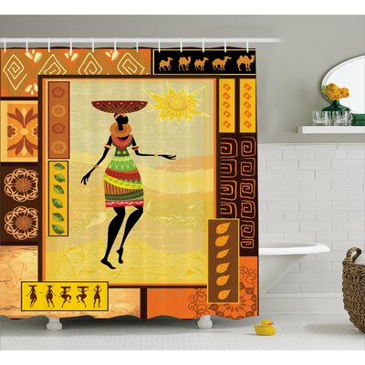 Avia Tribal Ethnic Folk Decor Print Shower Curtain Size: 69 W x 70 L