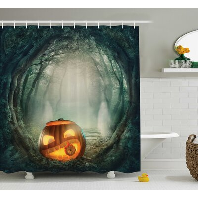 Halloween Decor Scary Pumpkin Shower Curtain Size: 69 W x 75 L