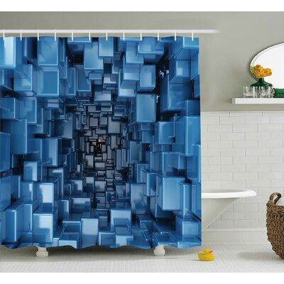 Harkness Digital Geometric Shower Curtain Size: 69 W x 75 L