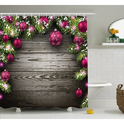 Christmas Rustic Balls Branch Shower Curtain Size: 69 W x 70 L