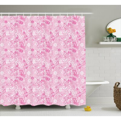 Simeon Paisley Flowers Leaves Shower Curtain Size: 69 W x 70 L