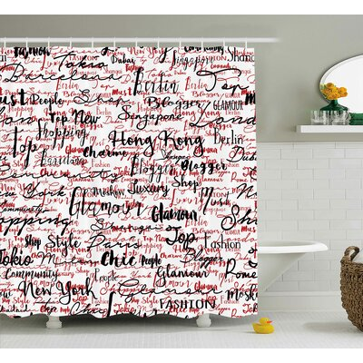 Arabelle Popular Fashion Words Shower Curtain Size: 69 W x 75 L
