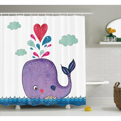 Turner Smiley Whale with Cloud Shower Curtain Size: 69 W x 84 L
