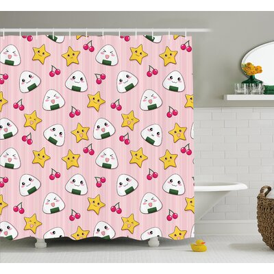 Lucinda Striped Cartoon Shower Curtain Size: 69 W x 75 L