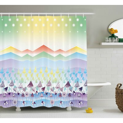 Lydia Spring Sky with Stars Shower Curtain Size: 69 W x 75 L
