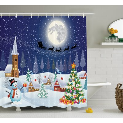 Christmas Winter Landscape Shower Curtain Size: 69 W x 75 L