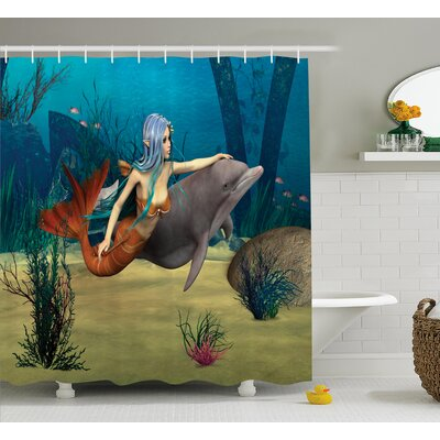 Ocean Dolphin Fish Mermaids Shower Curtain Size: 69 W x 75 L