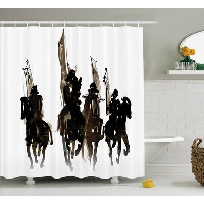 Black Army Cavalier Battle Shower Curtain Size: 69 W x 84 L
