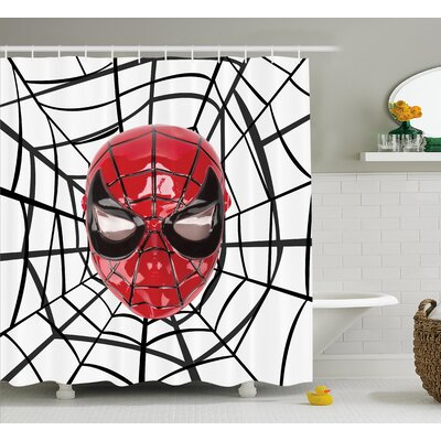 Superhero Spider Hero Mask Art Shower Curtain Size: 69 W x 84 L
