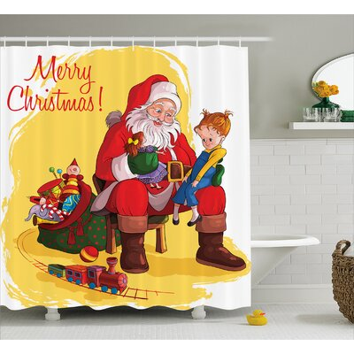 Christmas Kid and Santa Gifts Shower Curtain Size: 69 W x 84 L
