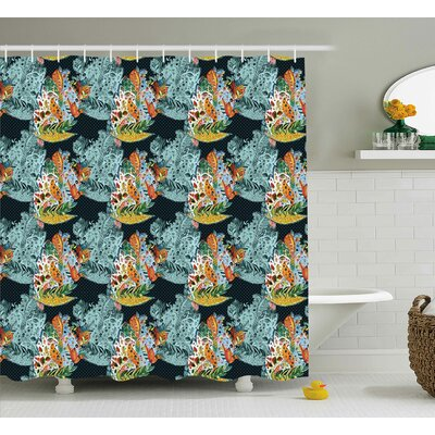 Hudson Oriental Style Motifs Shower Curtain Size: 69
