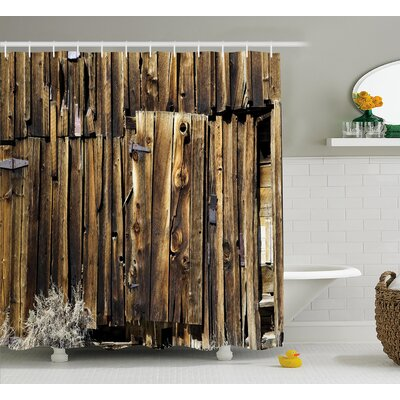 Rustic Oak Barn Timber Door Shower Curtain Size: 69 W x 84 L