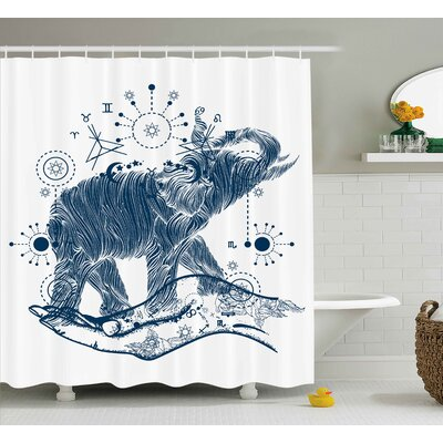 Geometric Sacred Occult Symbol Print Shower Curtain Size: 69 W x 75 L