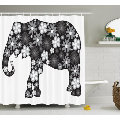 Fressia Floral Elephant Pattern Shower Curtain Size: 69 W x 75 L