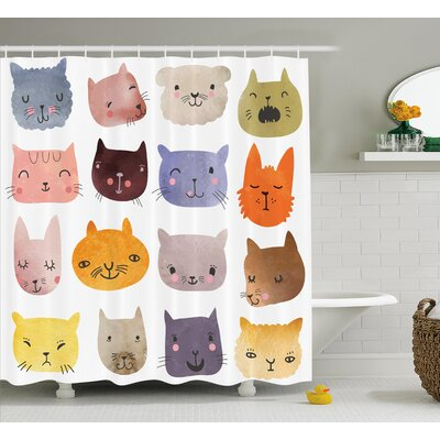 Lottie Colorful Humor Fun Cat Shower Curtain Size: 69 W x 75 L