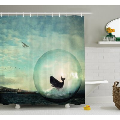 Nature Whales and Pollution Shower Curtain Size: 69 W x 84 L