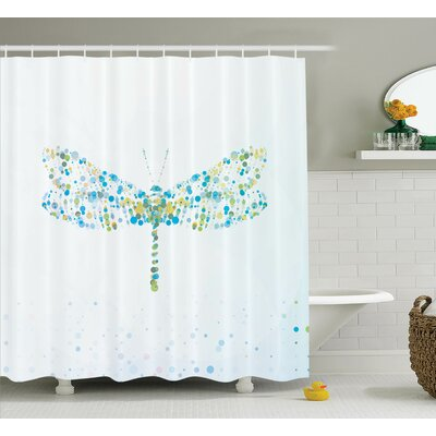Minni Dragonfly with Dots Shower Curtain Size: 69 W x 84 L